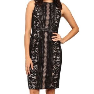 Adrianna Papell Black Lace Sheath Cocktail Dress